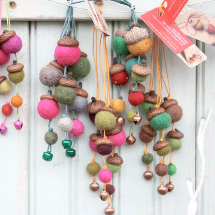 A collection of 3 bright fuzzy acorn holiday ornaments for your Christmas tree. A sweet little gift to charm the hostess, decorate a whole tree for the holidays, top a package, a cat toy perhaps? Lets