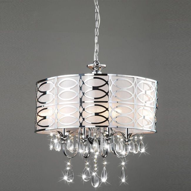 Class Up Any Dark Corners With This Shimmering Four Light Chandelier Chrome Features A Glistening Finish On The Shade And Sparkling Crystal