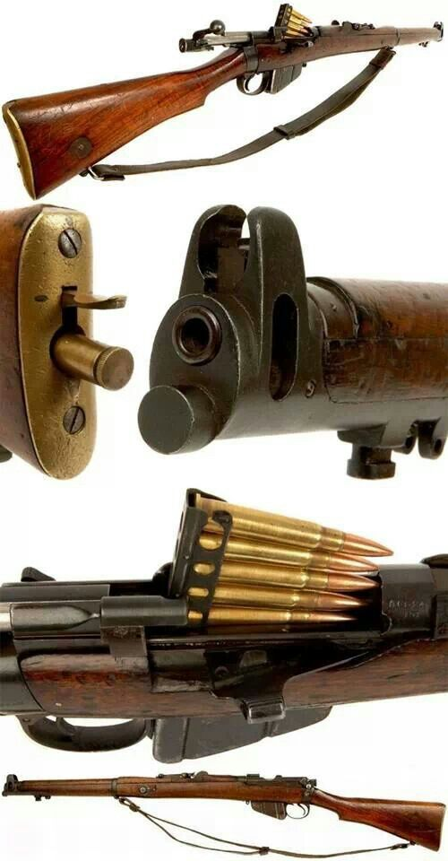 Lee-Enfield Mk 3 - Introduced in 1907, the Mk III was used by the British as well as pretty much everybody in the Commonwealth during the First World War. https://en.wikipedia.org/wiki/Lee%E2%80%93Enfield Cartridge .303 Mk VII SAA Ball Action Bolt-action Rate of fire 20–30 aimed shots per minute Muzzle velocity 744 m/s (2,441 ft/s) Effective firing range 550 yd (503 m)[2] Maximum firing range 3,000 yd (2,743 m)[2]