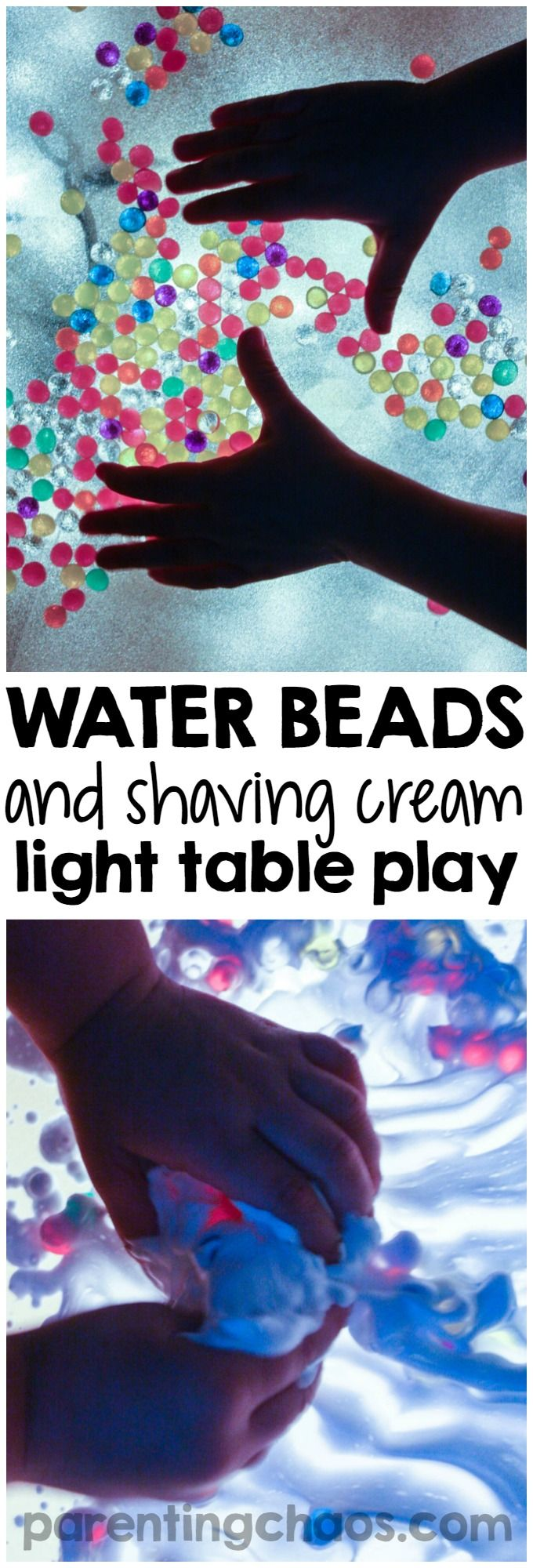 Child craft light table - Playing With Water Beads And Shaving Cream On The Light Table Is So Simple And Mesmerizing