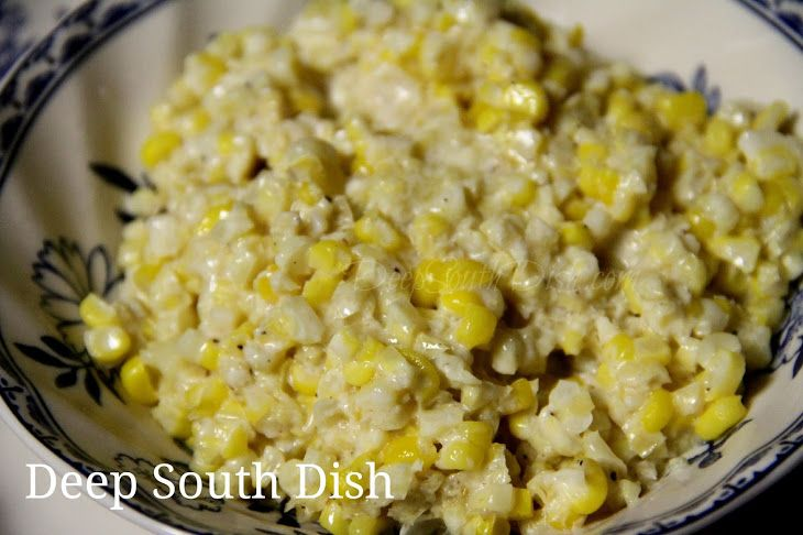 Southern Style Creamed Corn Recipe with bacon drippings, heavy cream, milk, corn starch, ear of corn, granulated sugar, kosher salt, cracked black pepper, butter