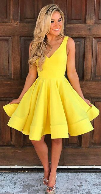 Cute Homecoming Dresses,V Neck Homecoming Dresses,Yellow Homecoming Dress,Sleeveless Homecoming Dresses,Short Prom Dress,A Line Party Dress,Homecoming Dresses
