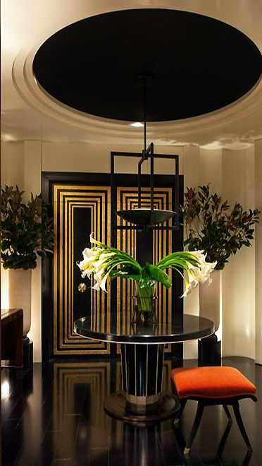 Art Deco-influenced interior design by Gibbons with stepped walls and ceilings   cynthia reccord