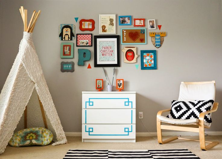 Gallery Wall Wednesday - A Turquoise and Orange Kids Room gallery wall - adding personal art to your wall - tribal kids room