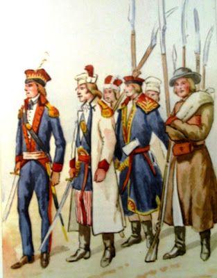 Epoka stanisławowska: Batalion grenadierów krakowskich 1794. Od lewej: oficer, Bartosz Głowacki, kosynier, strzelec. Rys. B. Gembarzewski.