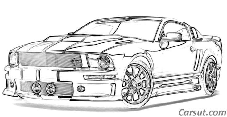 team muscle car drawing outline