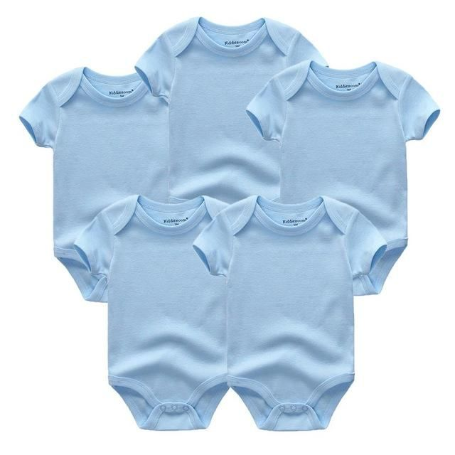 5pcs Lot Unisex Top Quality Baby Rompers Short Sleeve Cottom O Neck 0 12m Novel Newborn Boys Girls Roupas De B Baby Clothes Sizes Bebe Clothing Newborn Outfits
