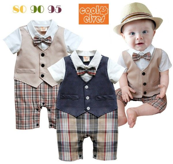 1PS retail! Children's baby clothes Handsome British style gentleman Romper dark blue and gray soil Vest style plaid Romper