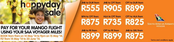 Mango Airlines Happy Day Sale for flights up to June 2014 http://southafrica.to/newsletters/2014/20140515-mango-sale-happy-day.php