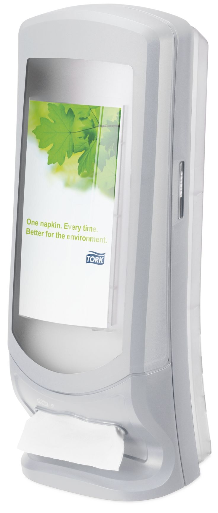 Tork Xpressnap® Stand Napkin Dispenser: We guarantee Tork Xpressnap® napkin dispensing system will reduce napkin usage by at least 25% compared with traditional dispensers, helping you to reduce napkin consumption and waste. (System: N4 - Interfolded napkin system; Material: Plastic; Height: 622mm, Width: 235 mm, Depth: 235 mm; Color: Light grey) Get more information about this product at: http://bimobject.com/en/sca-eu/product/272213/sca-tork-eu