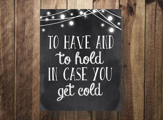 Blankets for Wedding Guests, Shawl Sign, To Have and To Hold In Case You Get Cold, Pashmina Wedding Favor, Winter Wedding, Hot Cocoa Bar