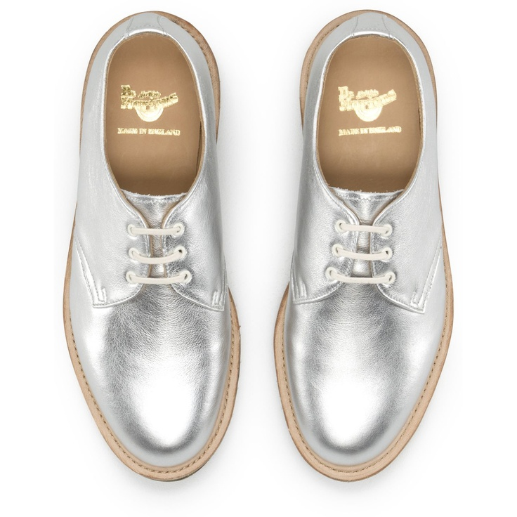 Dr. Martens 1461 Shoe in Silver Leather. Made In England ...