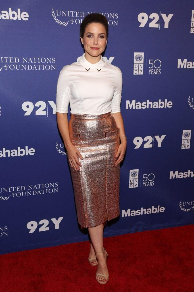 Sophia Bush wearing Lela Rose Resort 2017