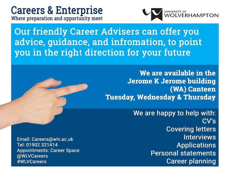 Walsall campus every; Tuesday Wednesday and Thursday from 09:00 till 12:30 then 13:30 till 16:30 our career advisors will be on hand to have a friendly chat to point you in the right direction #WLVCareers