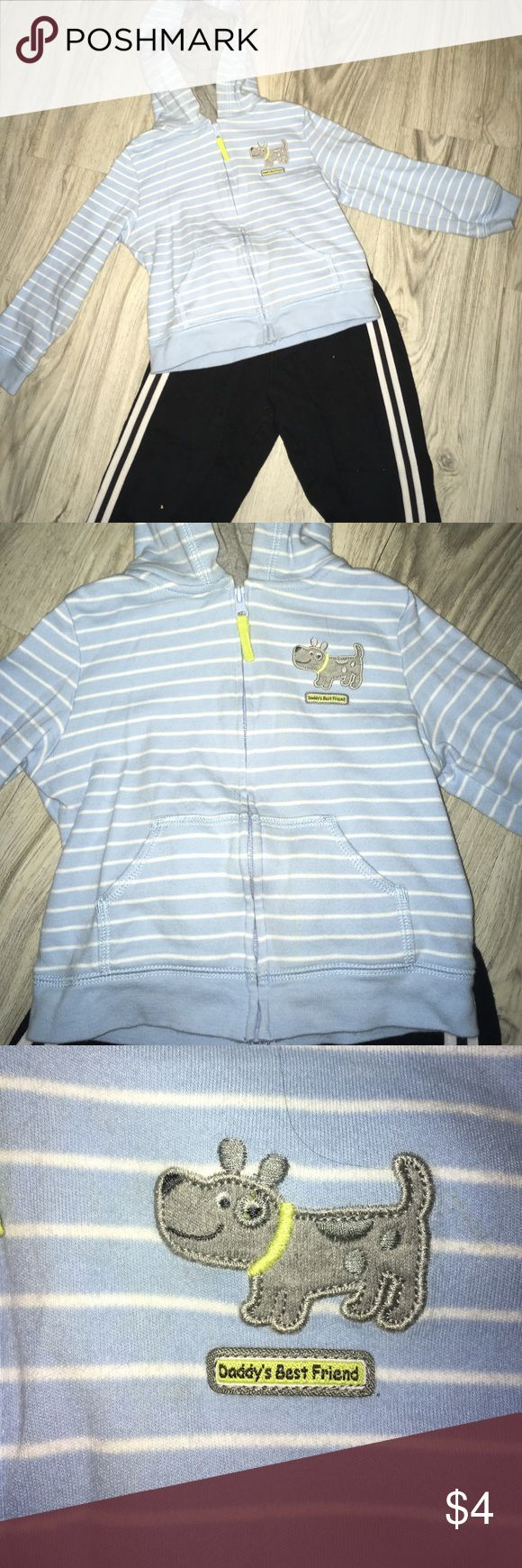 "🐕 Carters zip up striped hoodie EUC hoodie with pockets. Grey lining in hoodie. Blue and white stripes. Dog emblem says ""Daddy's Best Friend."" Bundle and save! Carter's Shirts & Tops Sweatshirts & Hoodies"