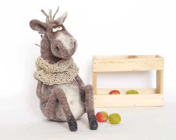 Felt doll - Felt toys - Felted animals - Collectible dolls - Unique toys - Soft sculpture - Needle felting - hand made toys - Gift for her