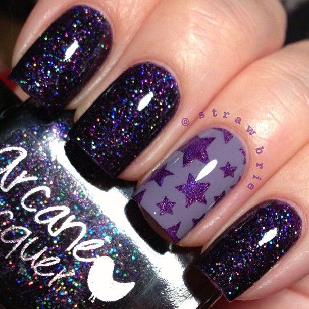 Stars nail art. Purple nails. Polish. Glitter. Nail design. Polishes. Instagram photo by strawbrie
