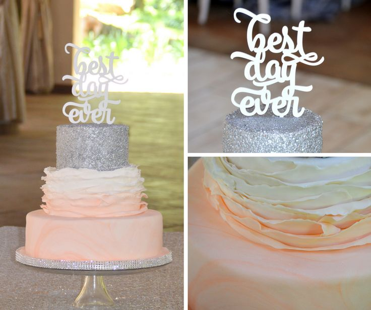 peach and silver sequins ruffle cake with cake topper ombre
