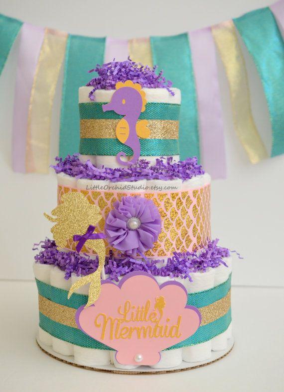 Little Mermaid Baby Shower Mermaid Diaper Cake Mermaid