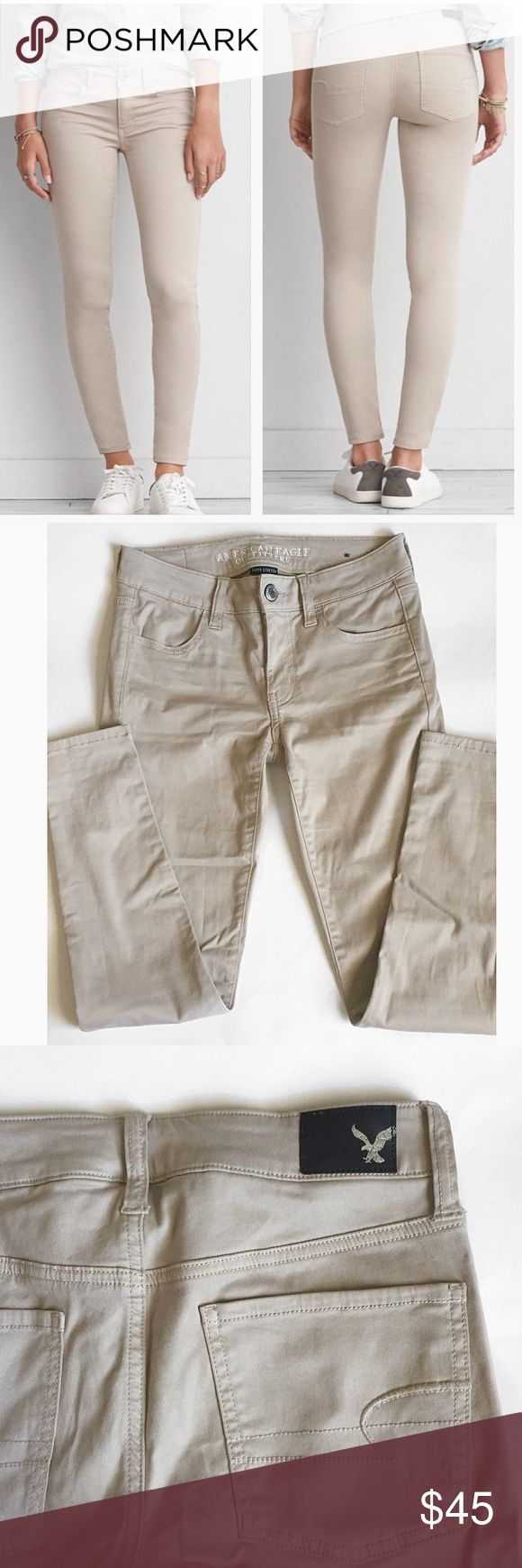 American eagle outfitters khaki jeggings American eagle khaki jeggings. Super soft and comfy. In practically new condition. Only worn a couple times. Size 2 short. ❌no trades. American Eagle Outfitters Jeans Skinny