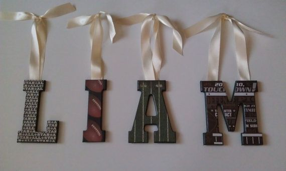 Football theme bedroom-decorative wall letters-room decor-personalized name