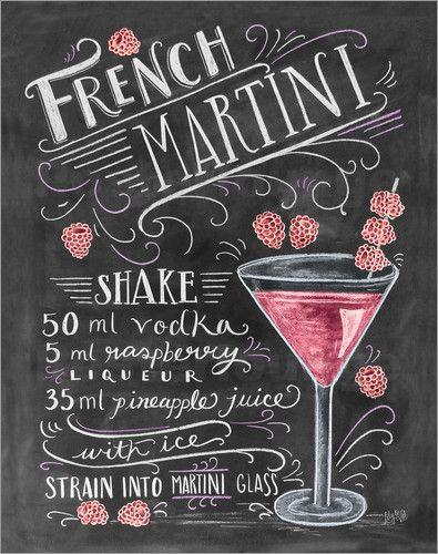 Poster Französischer Martini mit Himbeeren