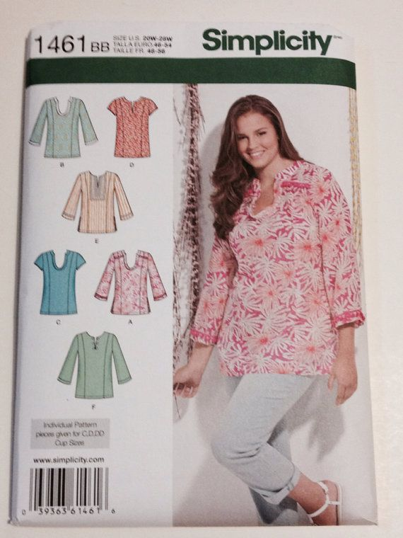 Simplicity Sewing Pattern 1461 Size BB U.S. 20W-28W Misses Women's Tunics on Etsy, $5.99