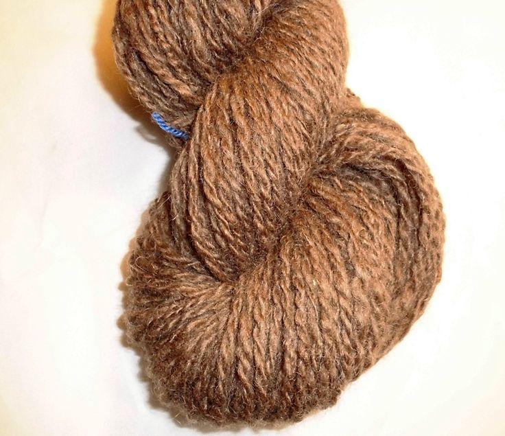Handspun Natural Finish Worsted Wool Yarn - Handspun Finishwool - Wool Yarn - Handspun Medium Brown Worsted Yarn - EU SELLER