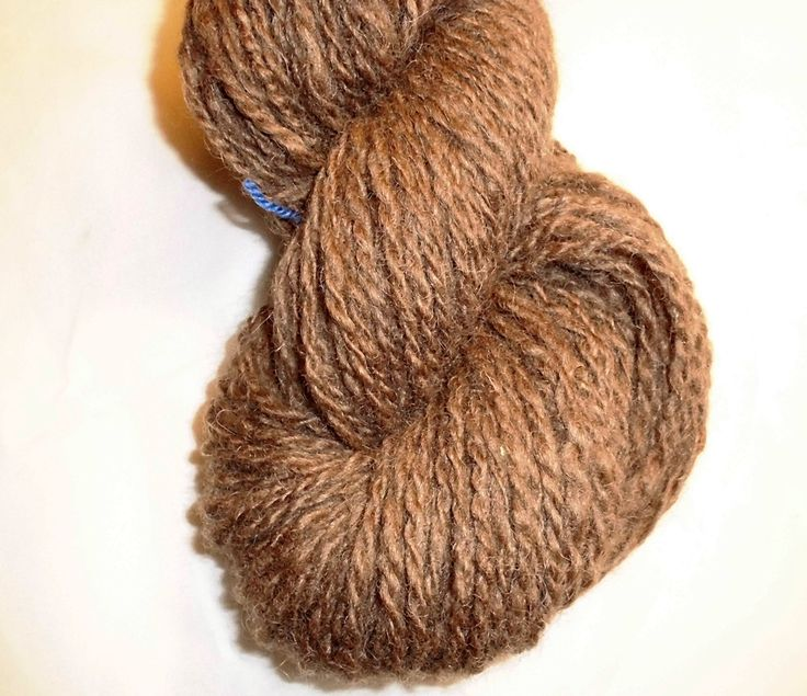 Handspun Natural Finish Worsted Wool Yarn - Handspun Finishwool - Wool Yarn - Handspun Medium Brown Worsted Yarn - EU SELLER