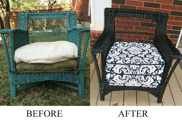 Before Amp After Spray Painting Wicker Front Porch Ideas