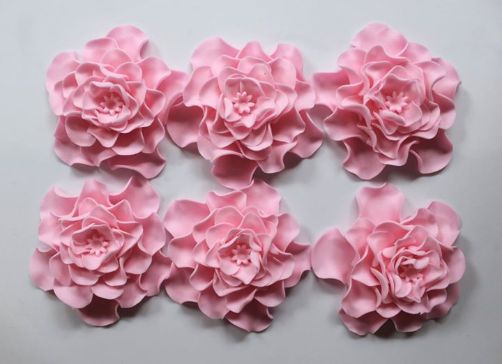 edible fondant flowers 6pcs large baby pink rose flower cupcake toppers wedding cake topper decorations vintage birthday bridal shower baby by InscribingLives (24.99 USD) http://ift.tt/1VDSWs6