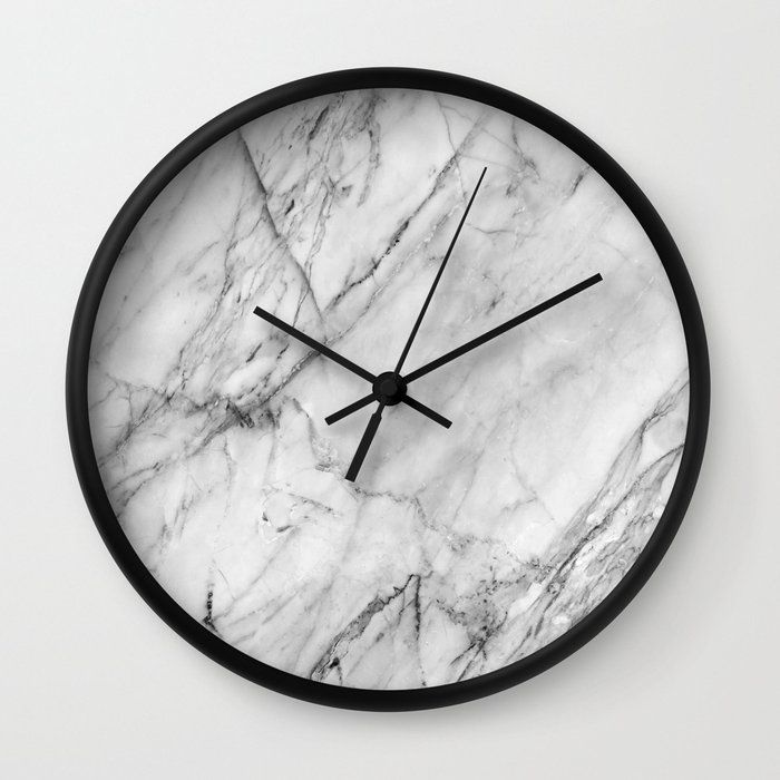 Marble Wall Clock By Patterns And Textures Black Black In 2020 Wall Clock Marble Clock Marble Wall