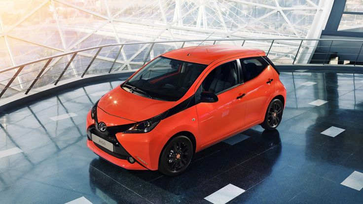 Orange toyota aygo
