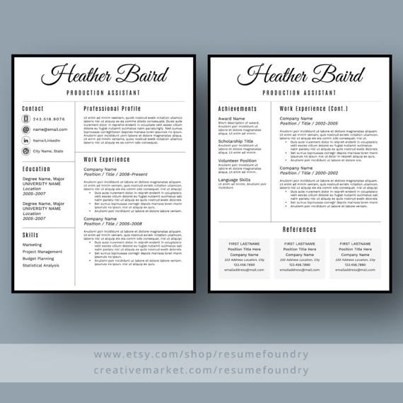 Stylish Resume Template / CV Template  Cover Letter for MS