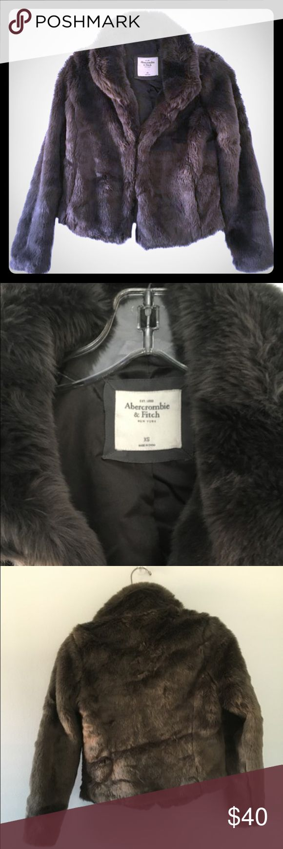 Abercrombie and Fitch jacket Faux fur, steel gray. Comfy and chic! Abercrombie & Fitch Jackets & Coats