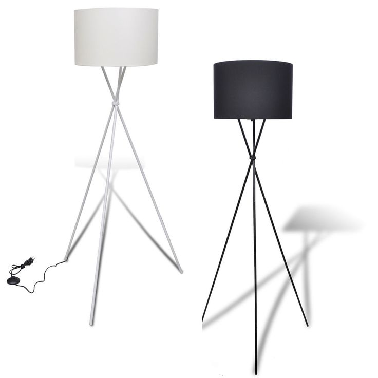 BNew Floor Lamp Shade With High Stand Tripod Standing WithShadeBlack White