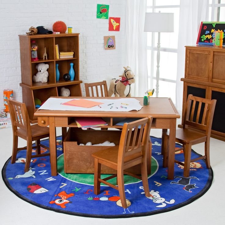 Classic Playtime Pecan Deluxe Activity Table with Free Paper Roll - Activity Tables at Hayneedle