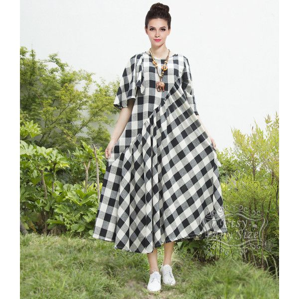 Anysize Spring Summer Dress Plaids Style Irregular Linen&Cotton Maxi... ($60) ❤ liked on Polyvore featuring dresses, white, women's clothing, linen maxi dresses, summer maxi dresses, linen summer dresses, cotton dress and summer dresses
