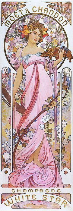 Art Nouveau advertising poster, Moët & Chandon.