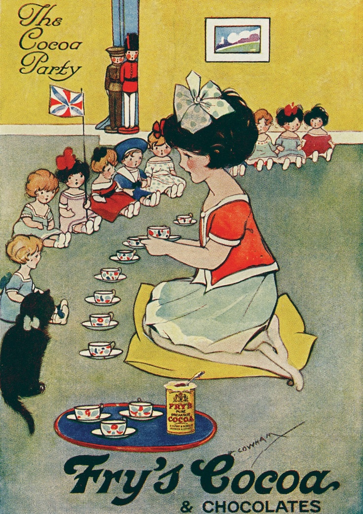 Hilda Gertrude Cowham, for Fry's cocoa and chocolates. 'The cocoa party'. Cowham was an English illustrator, famous for her work on children's books and ceramic nurseryware.