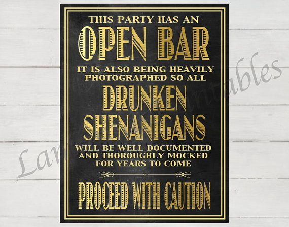 Open bar Open bar sign Open bar wedding by LaminitasPrintables