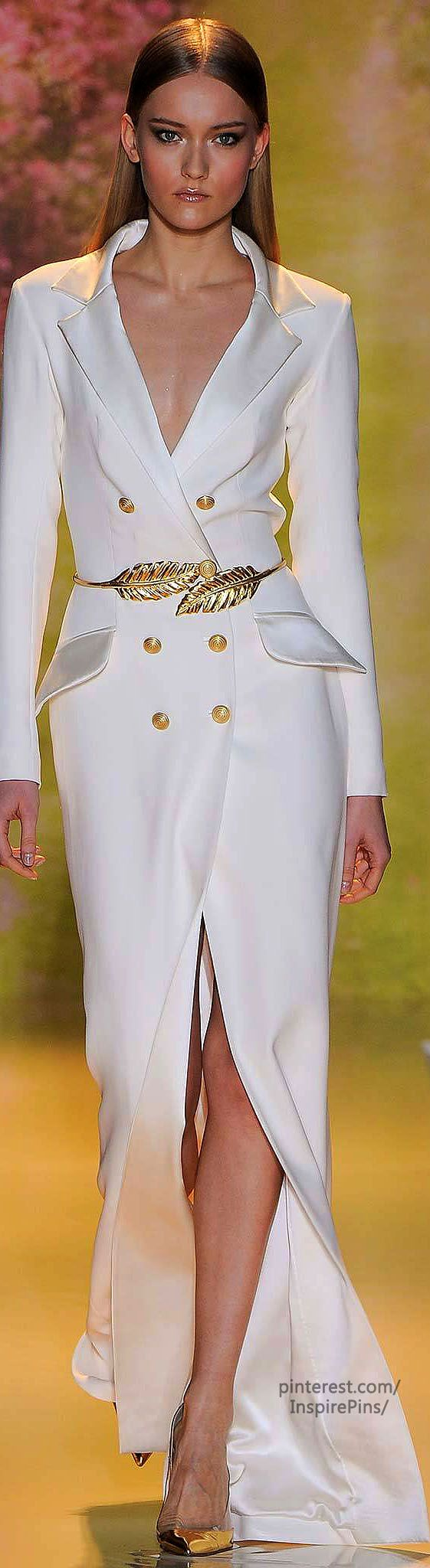 Spring 2014 Couture Zuhair Murad - Double Breasted Style - Long Coat (dress) - White & Gold