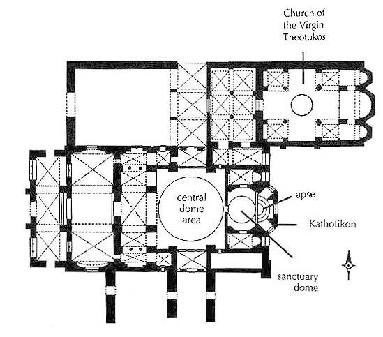 late byzantine architecture plan of katholikon hosios 214