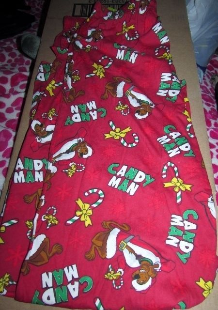 Scooby Doo Candy Man Christmas Pajamas Mens SZ LG Red Santa Scooby NEW #BrieflyStated #LoungePants #ScoobyDoo