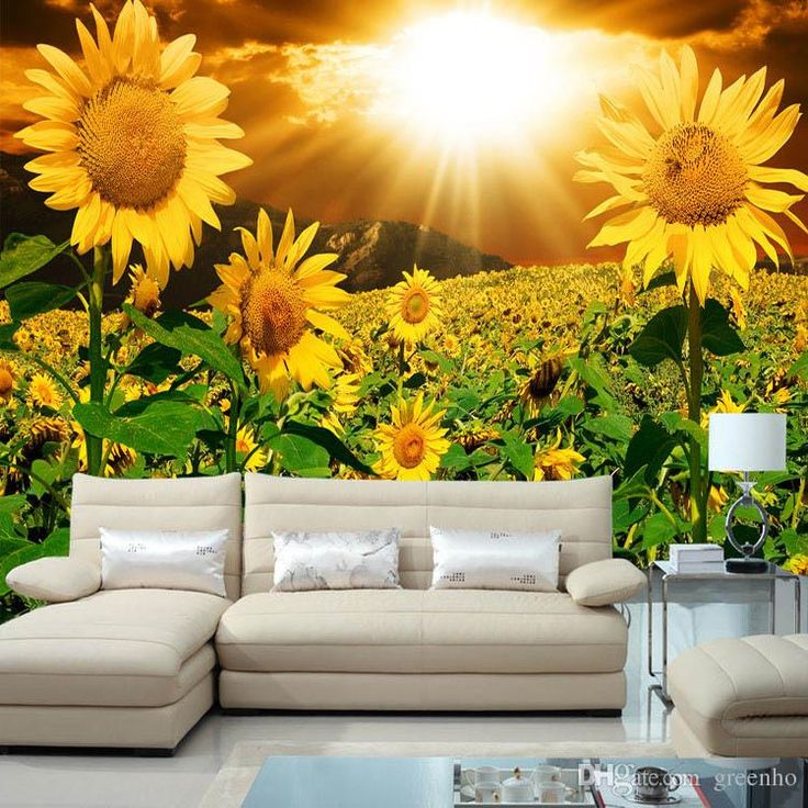 Sunflower Home Decor: Beautiful Sunflower Photo Wallpaper Natural Beauty Wall