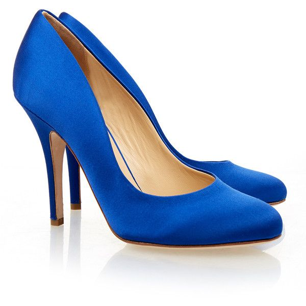 Liam Fahy Elle Blue Satin Court Shoe (740 PEN) ❤ liked on Polyvore featuring shoes, pumps, blue, almond toe shoes, satin shoes, slipon shoes, blue shoes and pull on shoes
