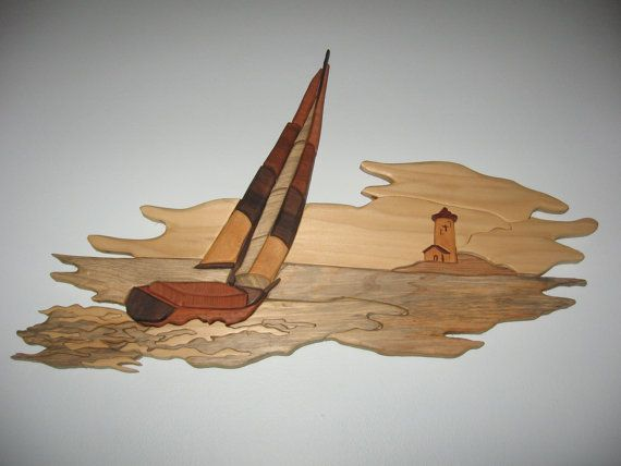 Handmade intarsia wood art seascape wall hanging by kitswoodart, $75.00