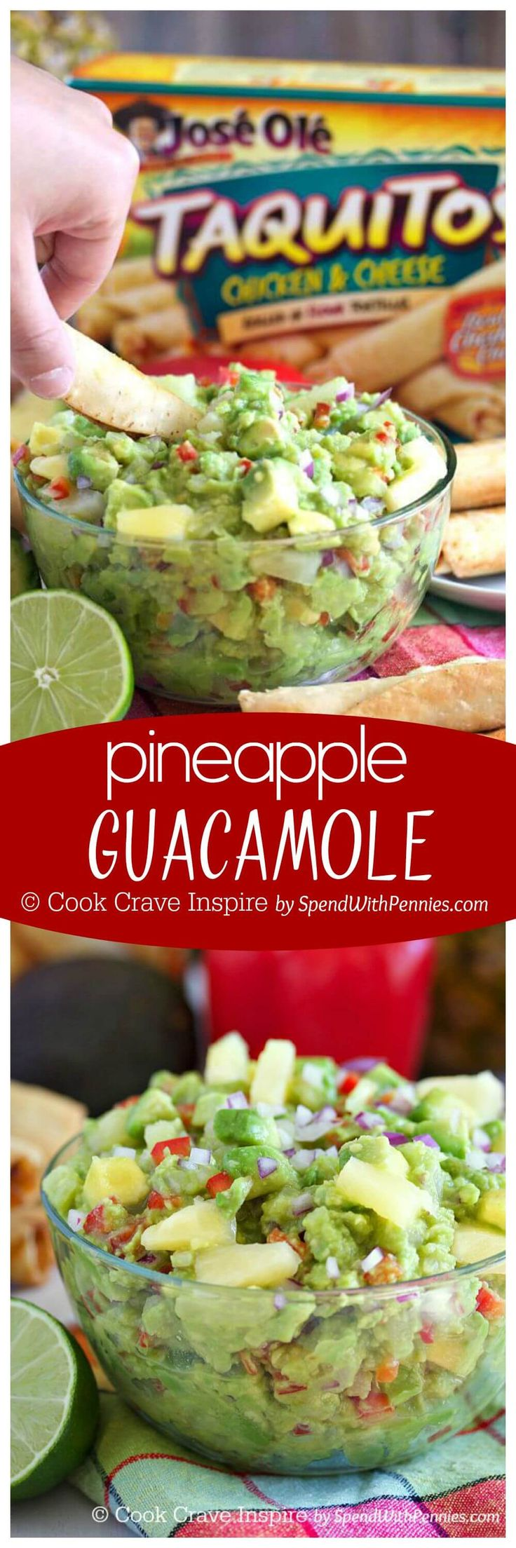 Pineapple Guacamole! Satisfy those teenager munchies!  Buttery avocado with fresh pineapple, cumin and onions is the perfect dip for taquitos! #spendwithpennies