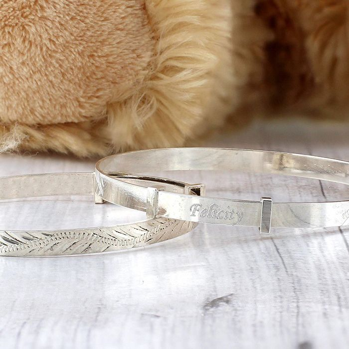 Personalised Childrens Expanding Silver  Bracelet  http://justtherightgift.co.uk/personalised-childrens-silver-expanding-bangle