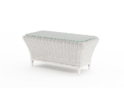 leonardo stolik z umeleho ratanu biely